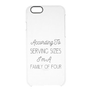 According To Serving Sizes, Funny Quote About Food Clear iPhone 6/6S Case