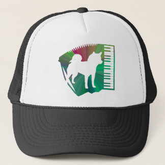 Accordion 柴 dog silhouette - Accordion Trucker Hat