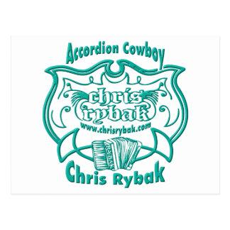 Accordion Cowboy Logo - Black Postcard