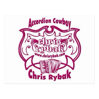 Accordion Cowboy Logo - FUCHSIA Postcard