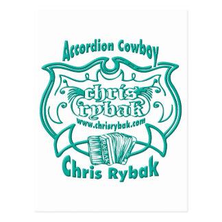 Accordion Cowboy Logo - Light Blue Postcard