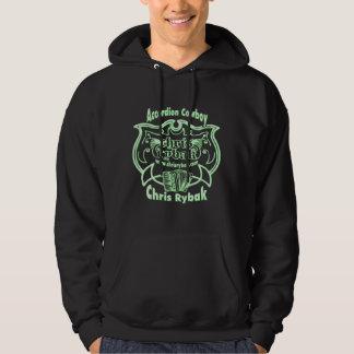 Accordion Cowboy Logo - Light Green for Black Hoodie