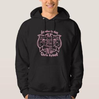 Accordion Cowboy Logo - Light Pink for Black Hoodie