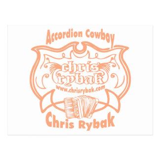 Accordion Cowboy Logo - Pink apricot Postcard