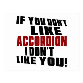 ACCORDION DON'T LIKE DESIGNS POSTCARD