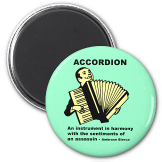 Accordion (humorously defined) 2 inch round magnet