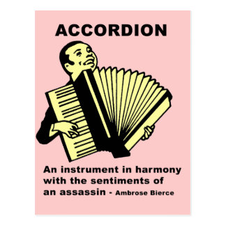Accordion (humorously defined) postcard