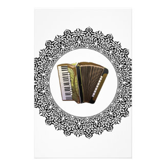 accordion in a round stationery