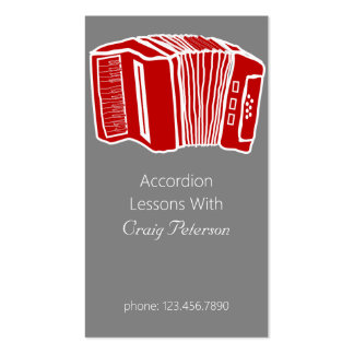 Accordion Lessons, Music Instructor Business Card
