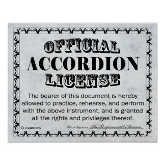 Accordion License Poster