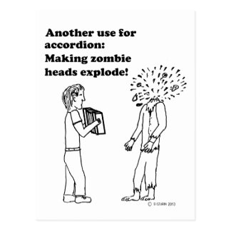 Accordion Makes Zombies Explode Post Cards