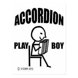 Accordion Play Boy Postcard