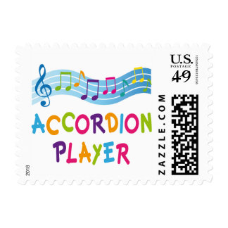 ACCORDION PLAYER COLORED STAMP