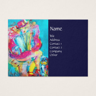 ACCORDION PLAYER IN THE NIGHT, blue Business Card