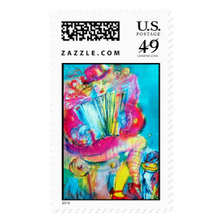 ACCORDION PLAYER IN THE NIGHT POSTAGE STAMP