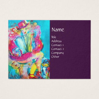 ACCORDION PLAYER IN THE NIGHT, purple Business Card