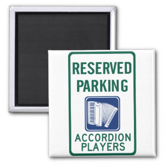 Accordion Player Parking 2 Inch Square Magnet