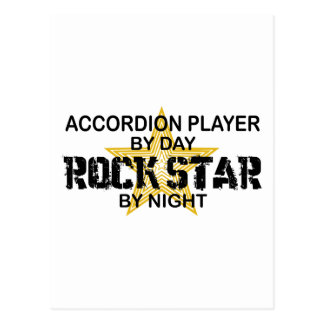 Accordion Player Rock Star by Night Postcard