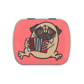 Accordion Pug Jelly Belly Tin