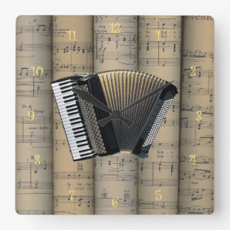 Accordion ~ Rolled Sheet Music Background ~ Music Square Wall Clock