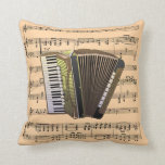 Accordion w/Sheet Music Background ~ Musical Instr Throw Pillow
