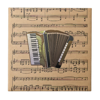 Accordion With Sheet Music Background Ceramic Tile