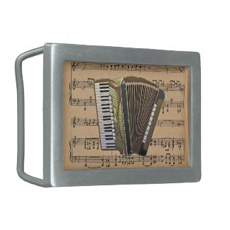 Accordion With Sheet Music Background Rectangular Belt Buckle