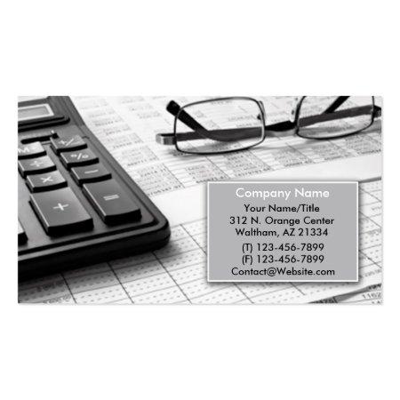 Glasses Calculator Pen & Spreadsheet Accountant Business Card Template