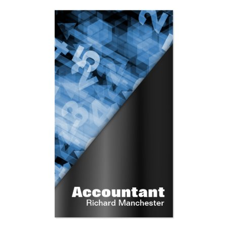 Black and Blue Numbers Accountant Business Cards
