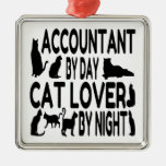 Accountant by Day Cat Lover by Night Square Metal Christmas Ornament