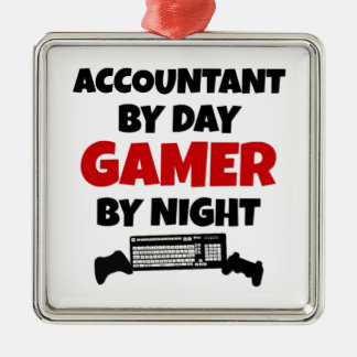 Accountant by Day Gamer by Night Square Metal Christmas Ornament