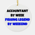 Accountant by Week Fishing Legend by Weekend Double-Sided Ceramic Round Christmas Ornament