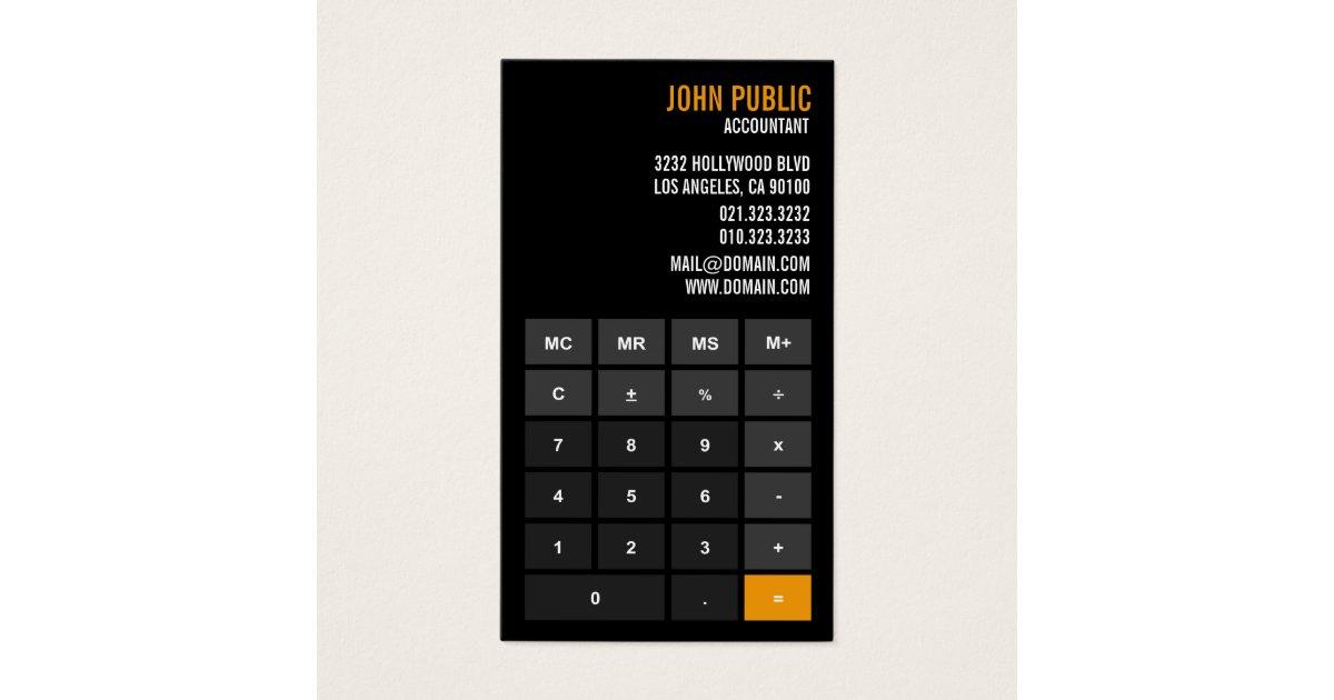 Accountant Calculator Financial Advisor Business Card | Zazzle.com
