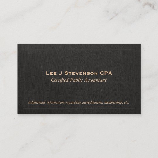 accountant cpa faux black linen business card - Linen Business Cards