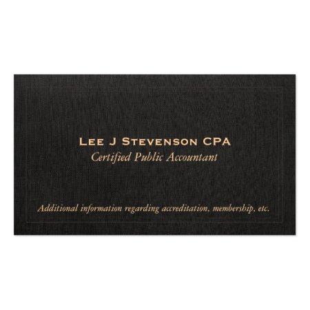 Faux Black Linen Accountant CPA Business Card Profilecard