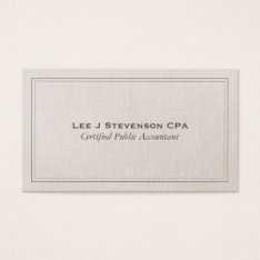 Accountant Cpa Professional Simple Classic Business Card at Zazzle