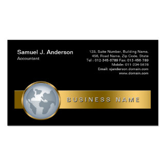 Accountant Finance Services Gold Stripe Globe Icon Business Card