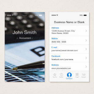 Iphone business cards templates zazzle accountant iphone ios customizable flat ui style business card accmission Image collections