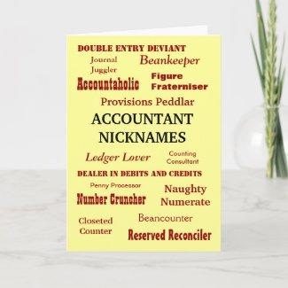 ACCOUNTANT NICKNAMES Blank Greeting card