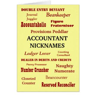 ACCOUNTANT NICKNAMES Blank Greeting Cards