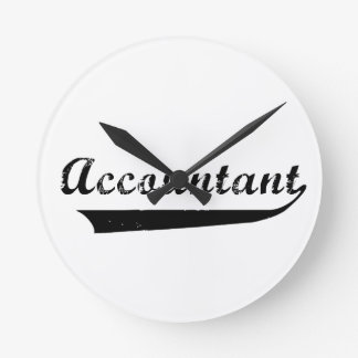 Accountant Sports Style Text Round Clock