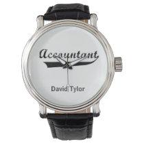 Accountant Sports Style Text Wristwatch