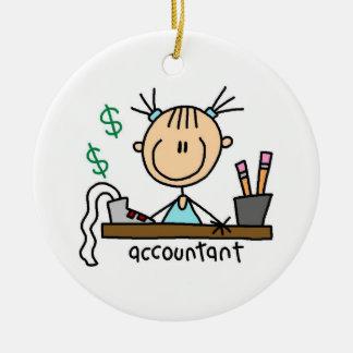 Accountant Stick Figure Ceramic Ornament