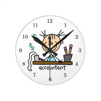 Accountant Stick Figure Round Clock