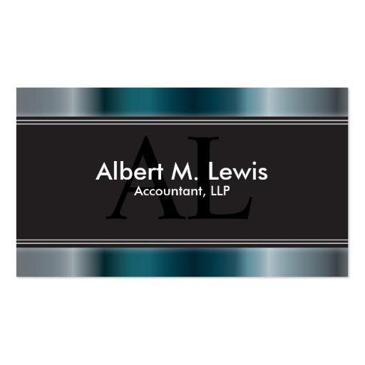 Accountant Tax Keeper Business Card Blue Monogram