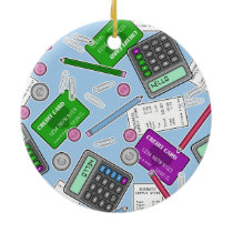 Accounting / Accountant Themed Pattern Ceramic Ornament
