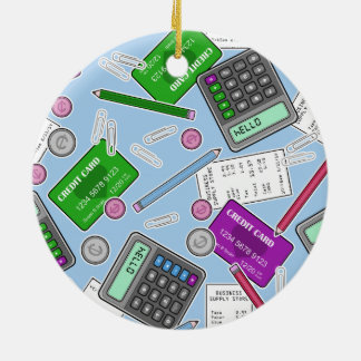Accounting / Accountant Themed Pattern Christmas Tree Ornaments