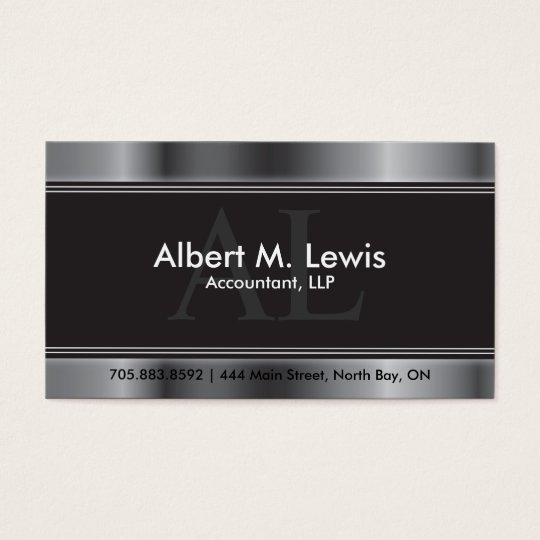 Accounting Appointment Card Silver Monogram