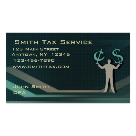 Green Businessman Holding Money Accounting Business Card Calling Card