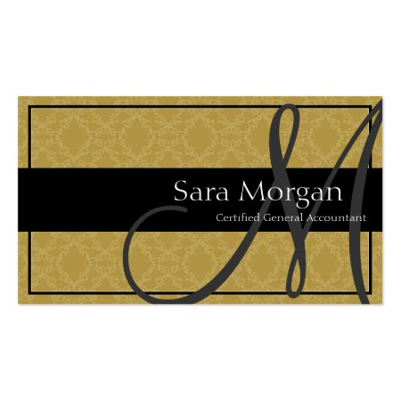 Accounting Business Card - Classy Monogram Damask Profilecards